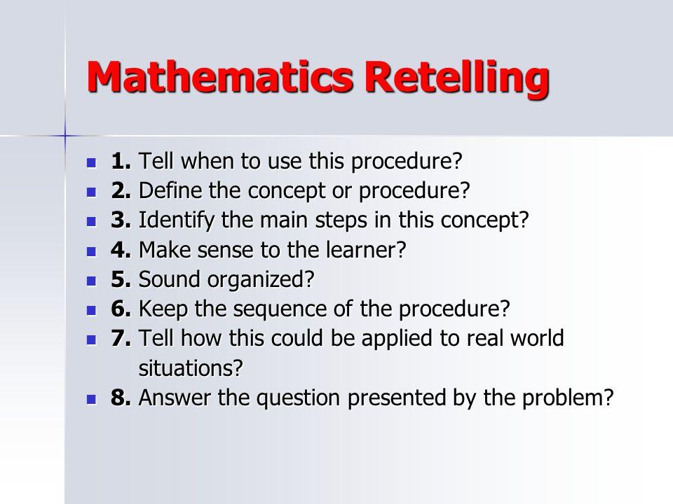 Mathematics Retelling