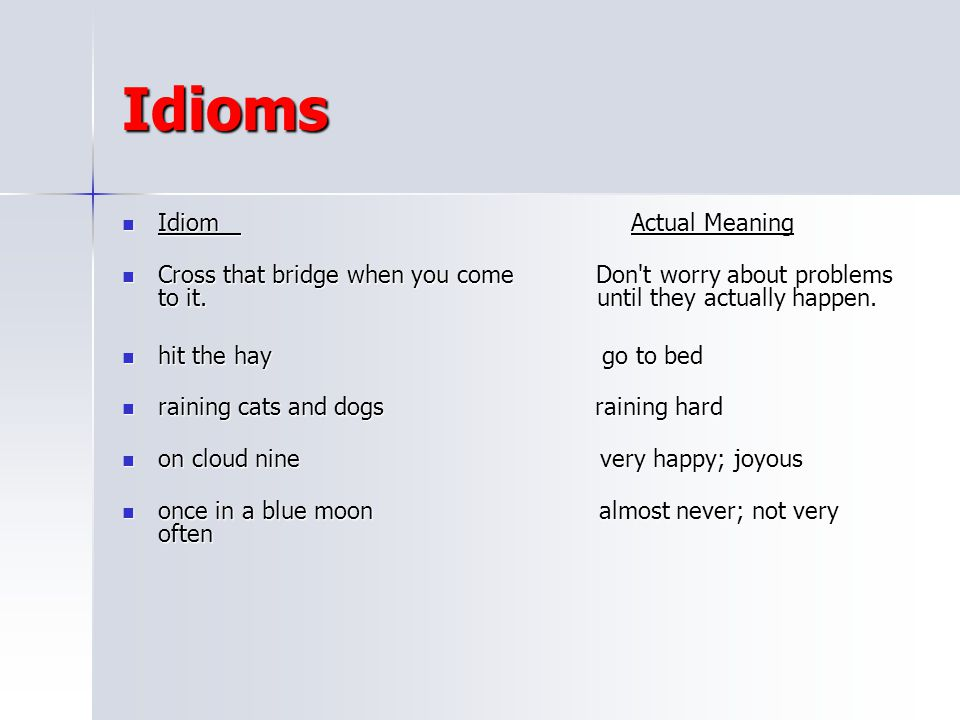 Idioms Idiom Actual Meaning