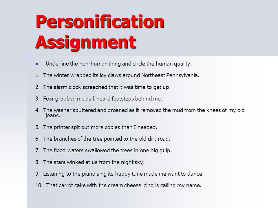 Personification Assignment