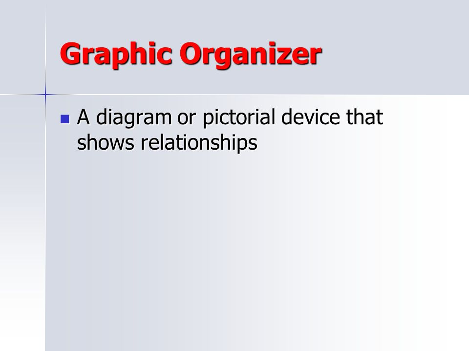 Graphic Organizer A diagram or pictorial device that shows relationships
