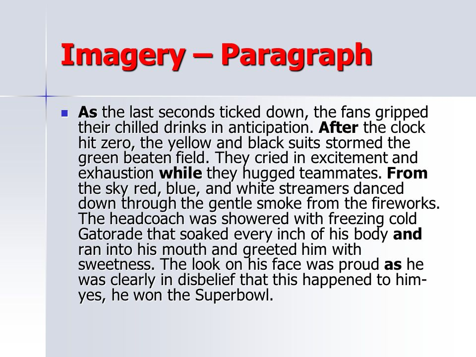 Imagery – Paragraph