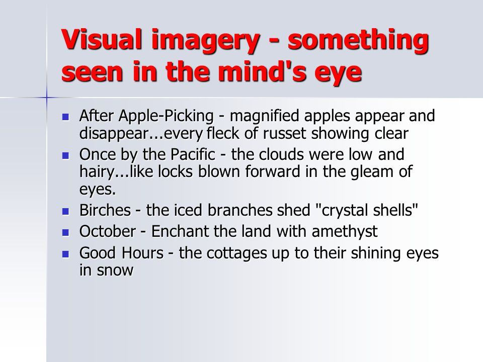 Visual imagery - something seen in the mind s eye