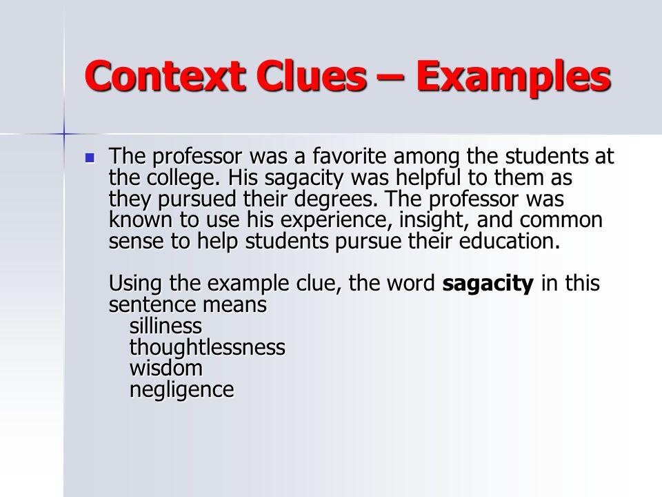 Context Clues – Examples