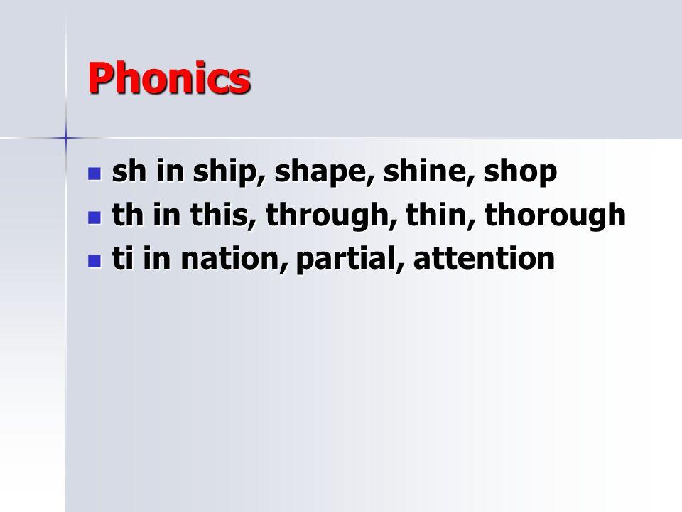 Phonics sh in ship, shape, shine, shop
