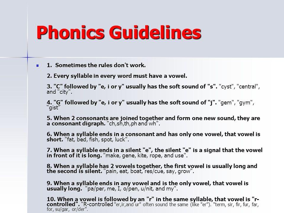 Phonics Guidelines