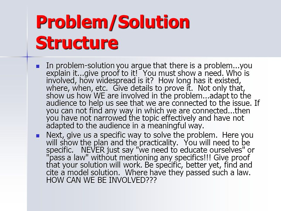 Problem/Solution Structure