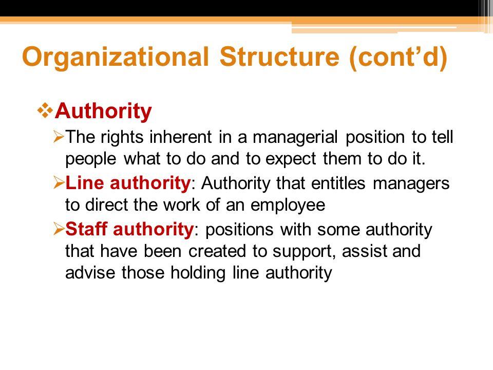 Organizational Structure (cont'd)