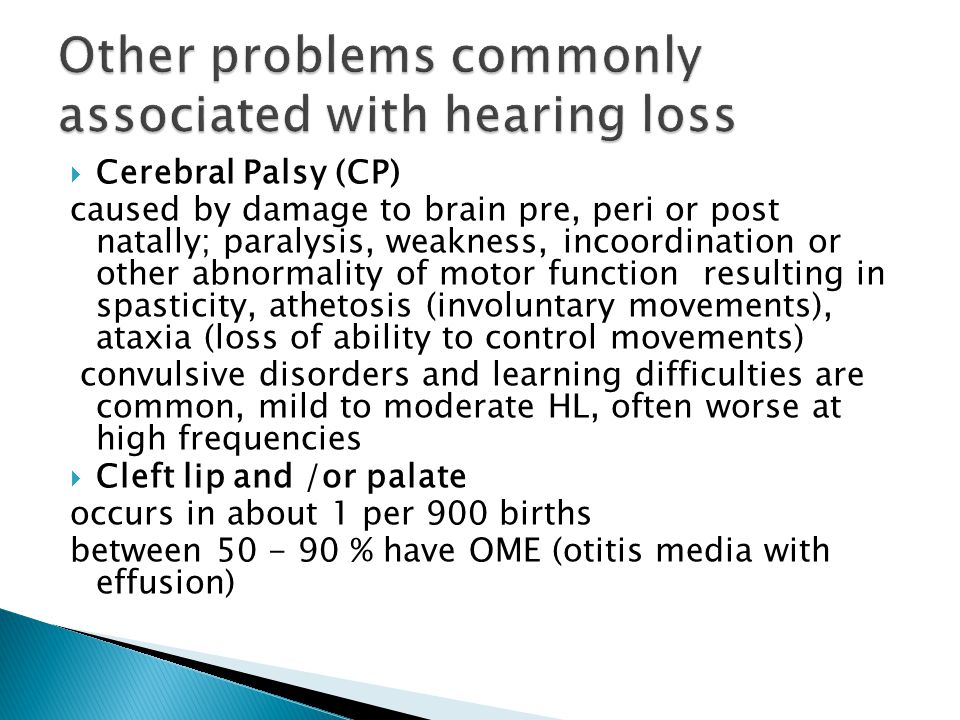 Syndromes associated with hearing loss ppt download for Loss of motor control