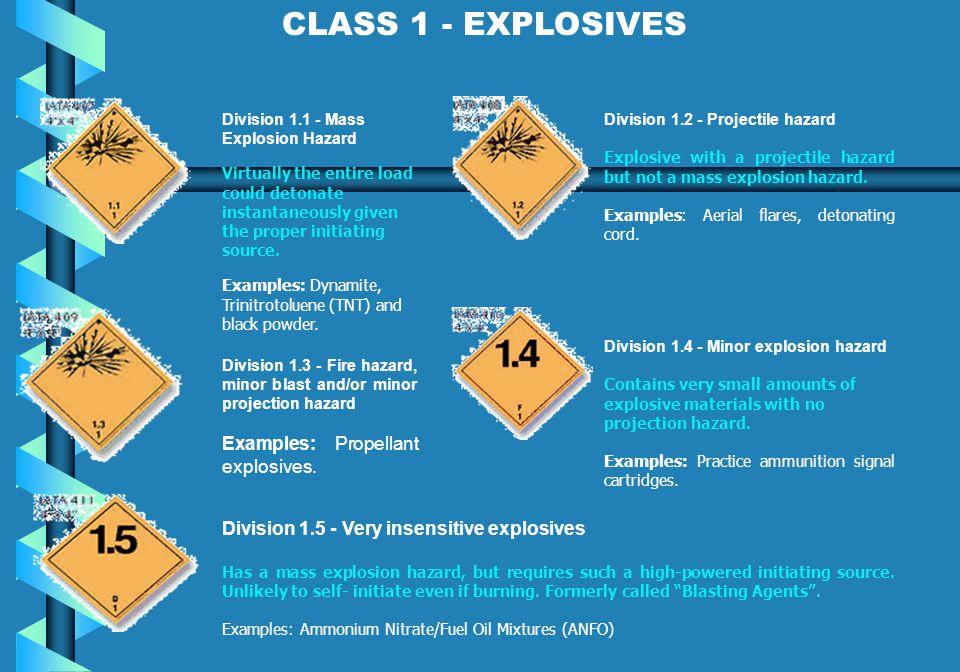 CLASS 1 - EXPLOSIVES Examples: Propellant explosives.