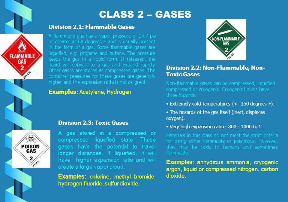 CLASS 2 – GASES Division 2.1: Flammable Gases