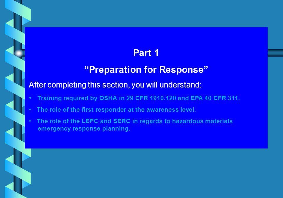 Preparation for Response