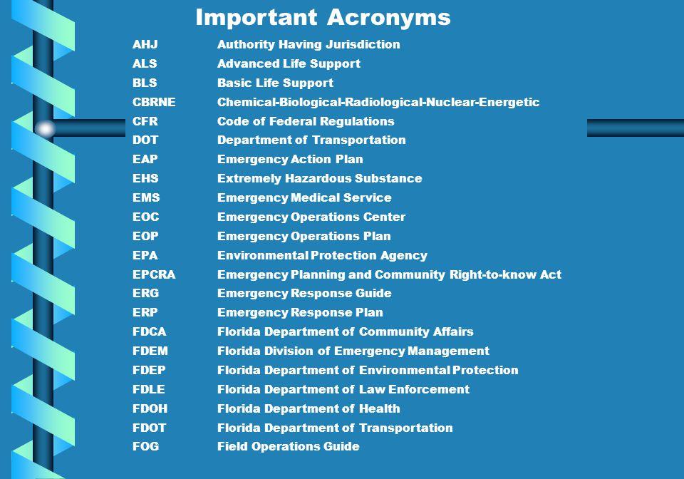 Important Acronyms AHJ Authority Having Jurisdiction