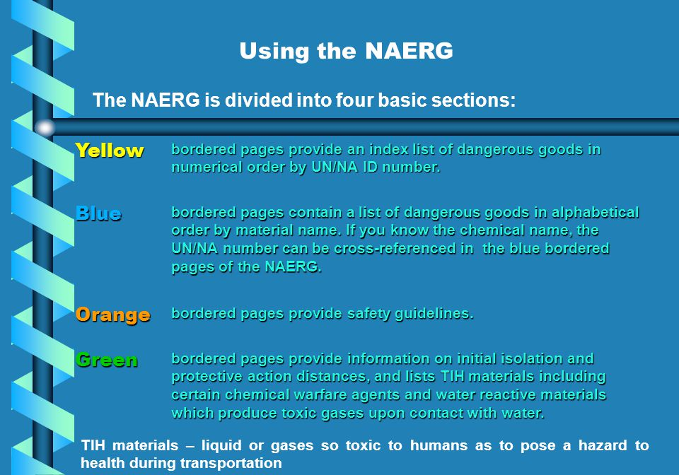 Using the NAERG Yellow The NAERG is divided into four basic sections: