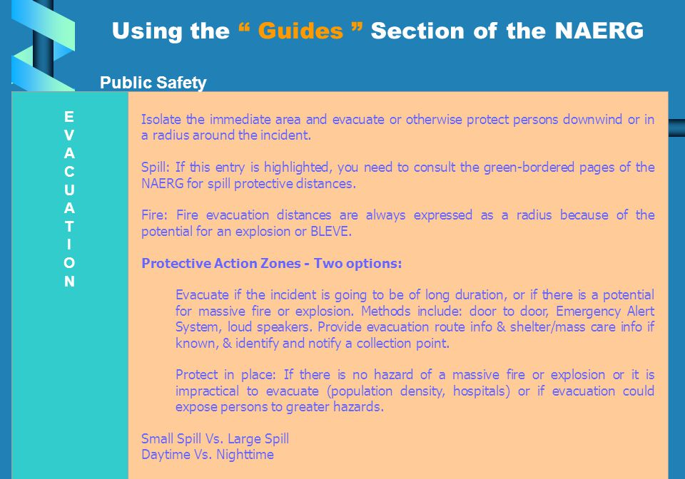 Using the Guides Section of the NAERG of the NAERG