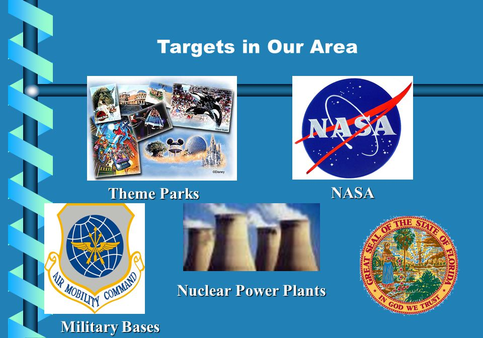 Targets in Our Area Theme Parks NASA Nuclear Power Plants