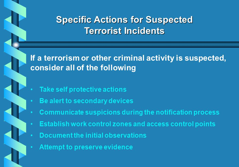 Specific Actions for Suspected