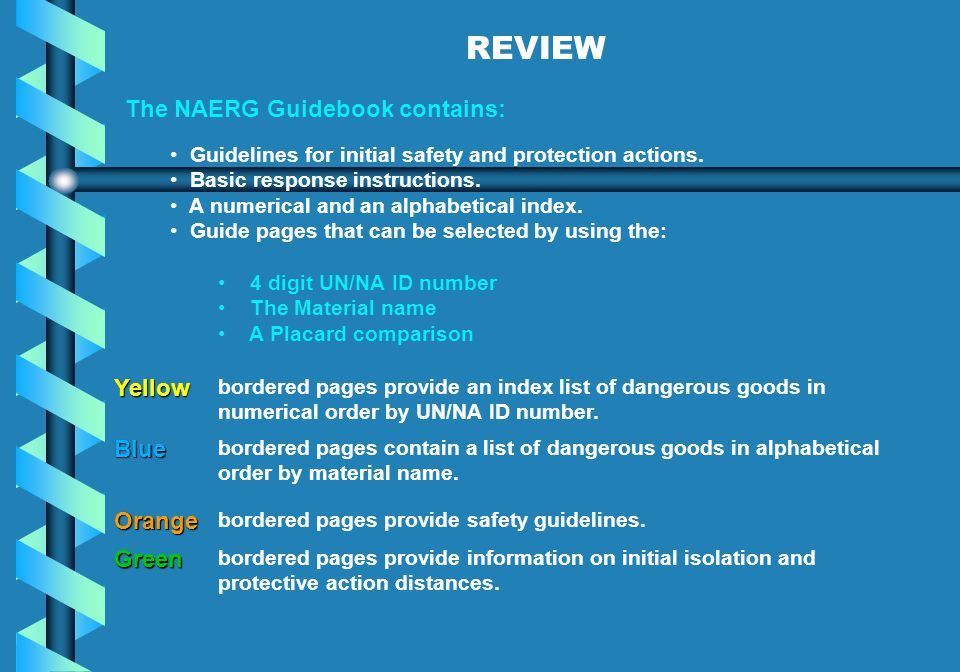 REVIEW The NAERG Guidebook contains: Yellow Blue Orange Green