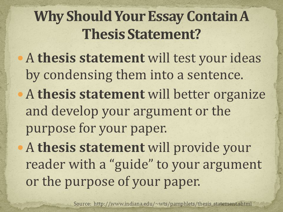 Resources On Writing: Function of Thesis Statements