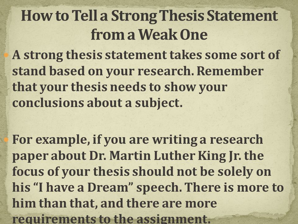 how to write a strong thesis statement powerpoint