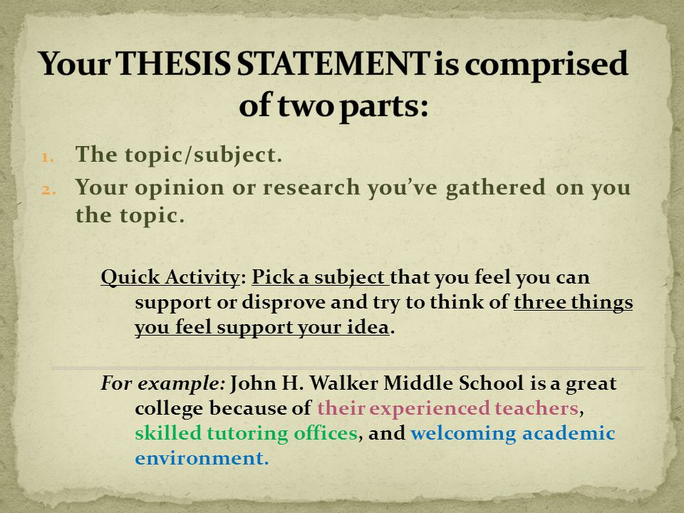 thesis statements for middle school research papers Writing an effective thesis statement long research papers might require a paragraph or i would like to become an automotive engineer when i finish school.