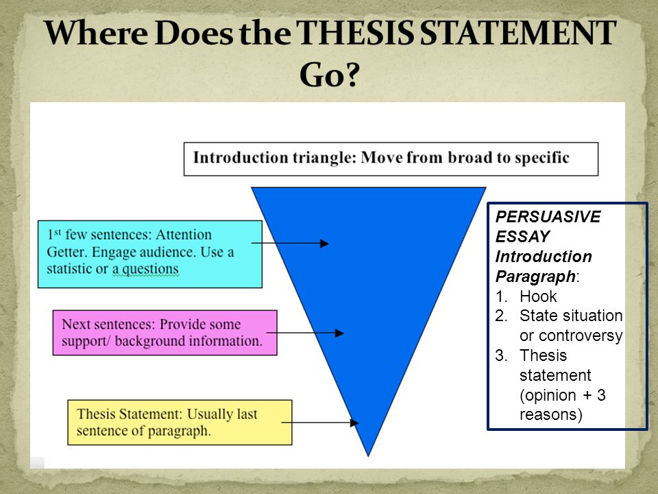 Where does a thesis go in an essay