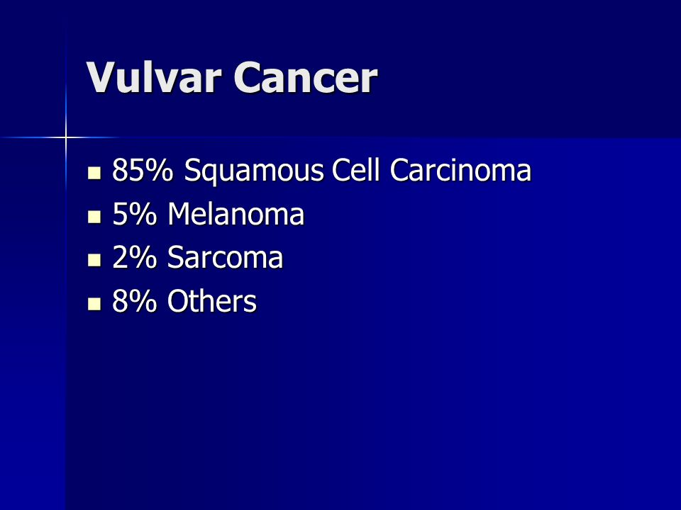 Vulvar Cancer 85% Squamous Cell Carcinoma 5% Melanoma 2% Sarcoma