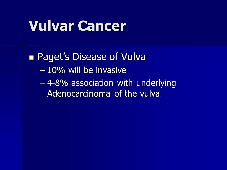 Vulvar Cancer Paget's Disease of Vulva 10% will be invasive