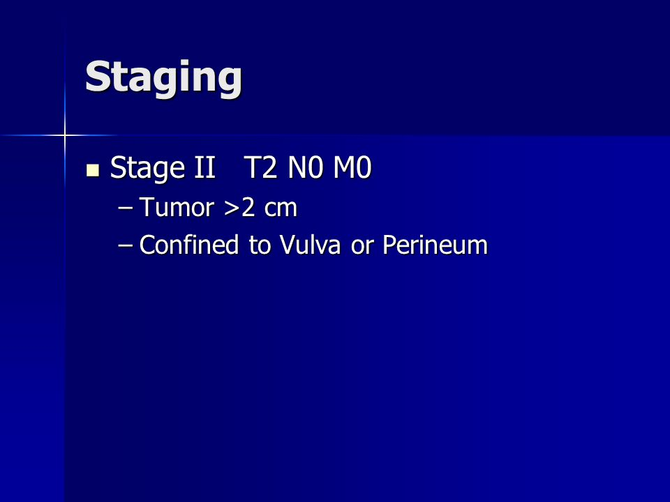 Staging Stage II T2 N0 M0 Tumor >2 cm Confined to Vulva or Perineum