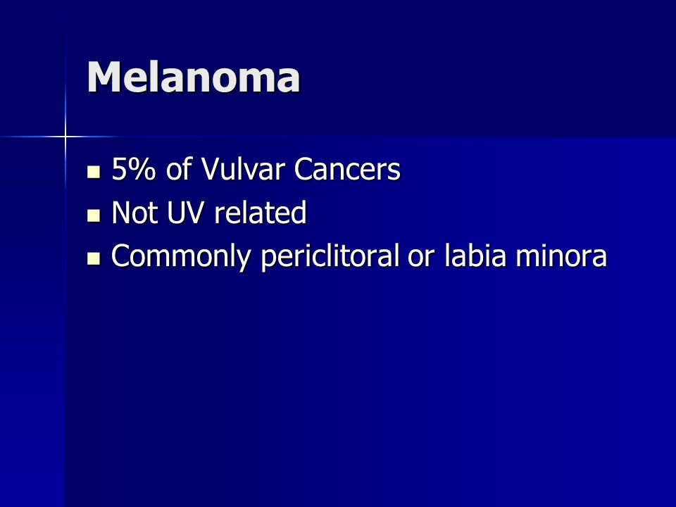 Melanoma 5% of Vulvar Cancers Not UV related