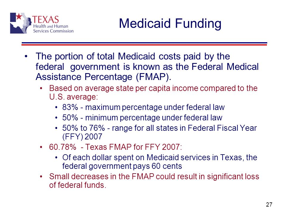 Medicaid Funding The portion of total Medicaid costs paid by the federal government is known as the Federal Medical Assistance Percentage (FMAP).