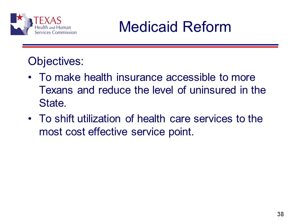 Medicaid Reform Objectives: