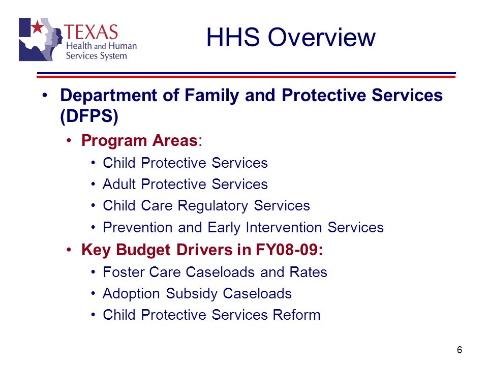 HHS Overview Department of Family and Protective Services (DFPS)