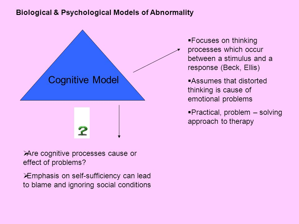 biological models of abnormality • discuss to what extent biological, cognitive and sociocultural factors influence , theories and/or studies) relevant to the study of abnormal behaviour abnormal psychology is the branch of psychology that deals with studying, explaining and treating in models of madness.