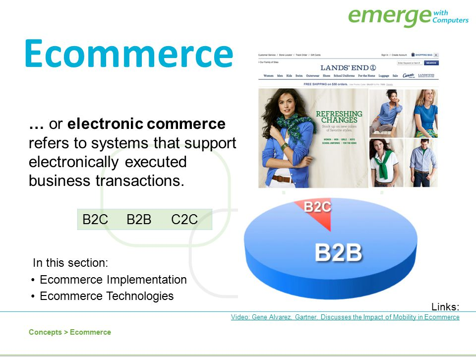 Ecommerce … or electronic commerce refers to systems that support electronically executed business transactions.