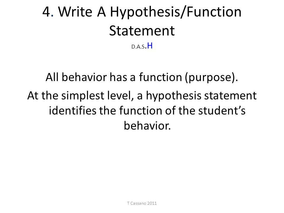 """write a hypothesis """"a hypothesis is a conjectural statement of the relation between two or more we would write h0: there is no difference between the two drugs on average."""
