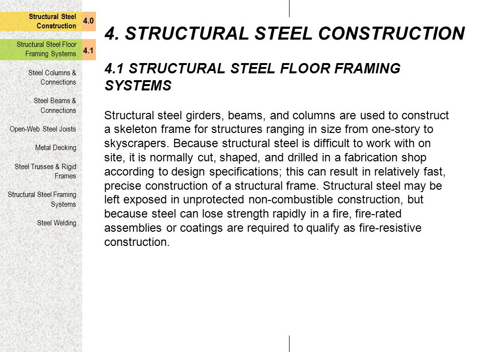 4. STRUCTURAL STEEL CONSTRUCTION