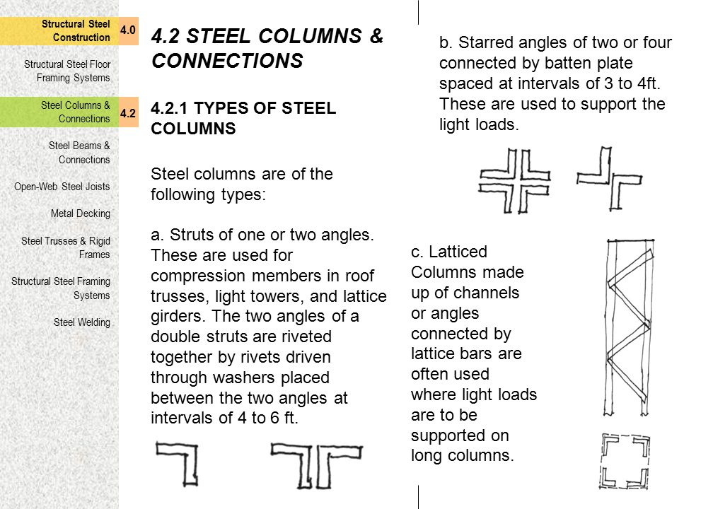 4.2 STEEL COLUMNS & CONNECTIONS
