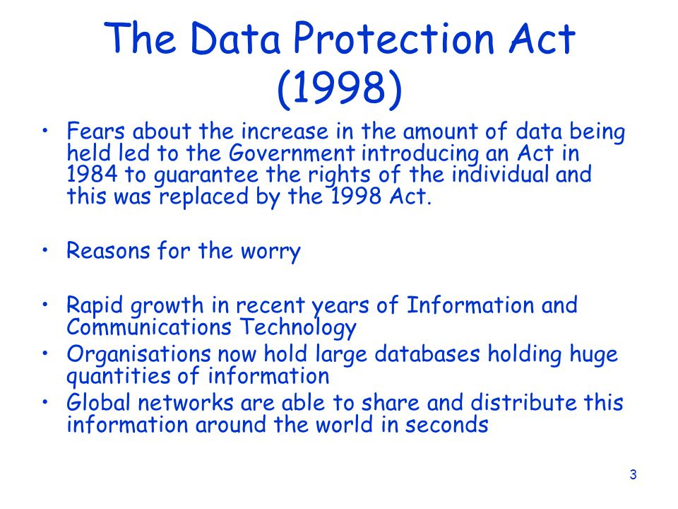 the data protection act essay Personal data must be: 1processed fairly and lawfully 2processed only for one or more specified and lawful purpose 3adequate, relevant and not excessi.
