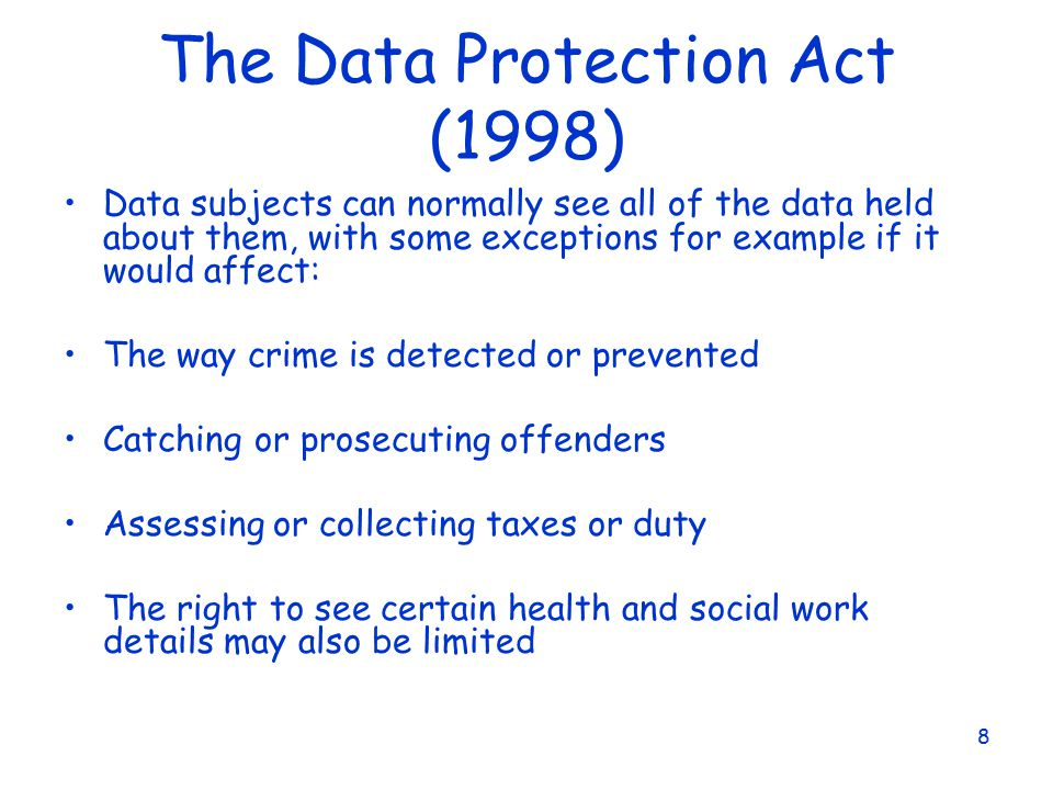 data protection act 1998 and social Social work department data protection act 1998 access to personal data (subject access) how to see personal information about you held on file by the social work department.