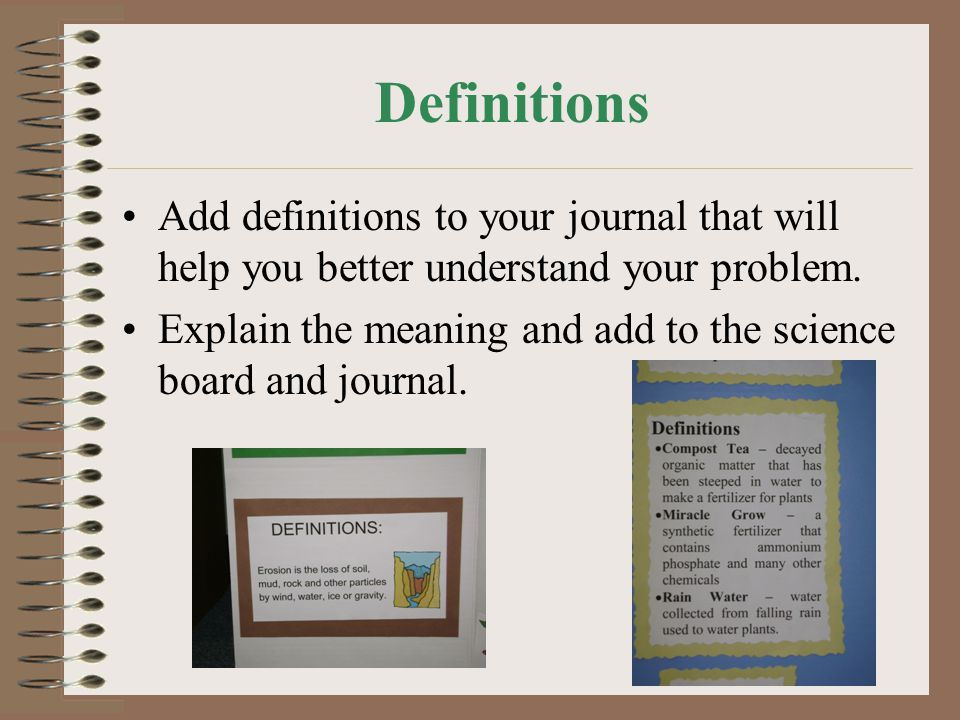 Definitions Add definitions to your journal that will help you better understand your problem.