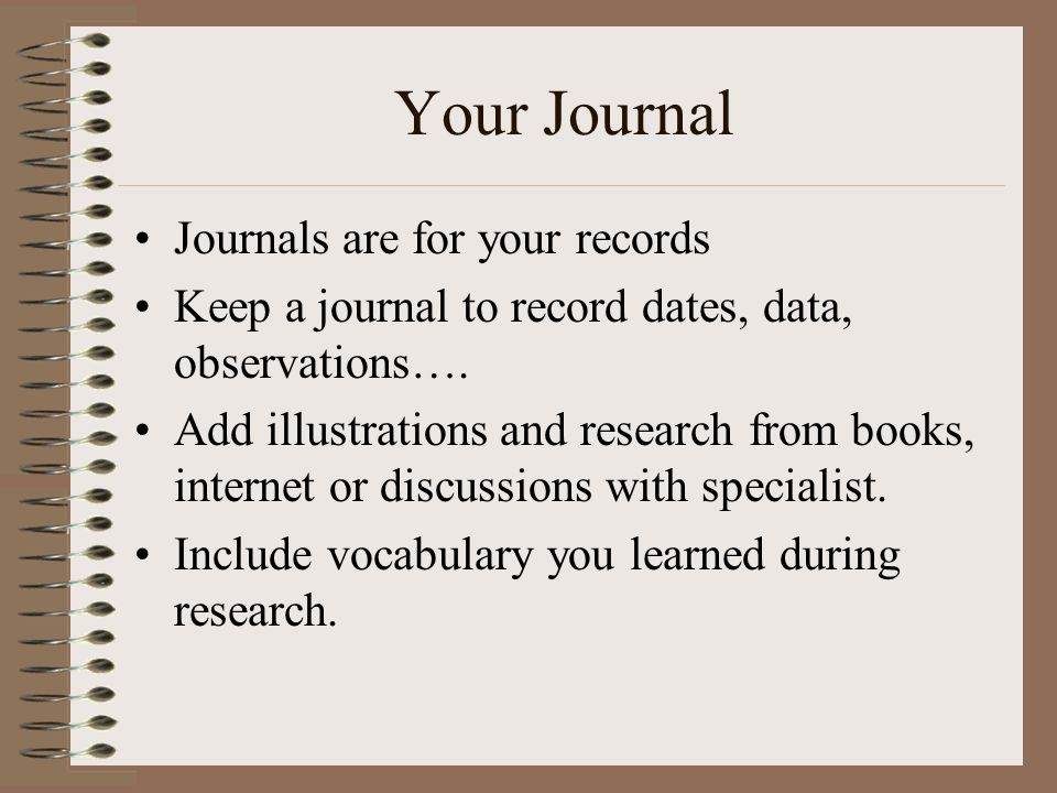 Your Journal Journals are for your records