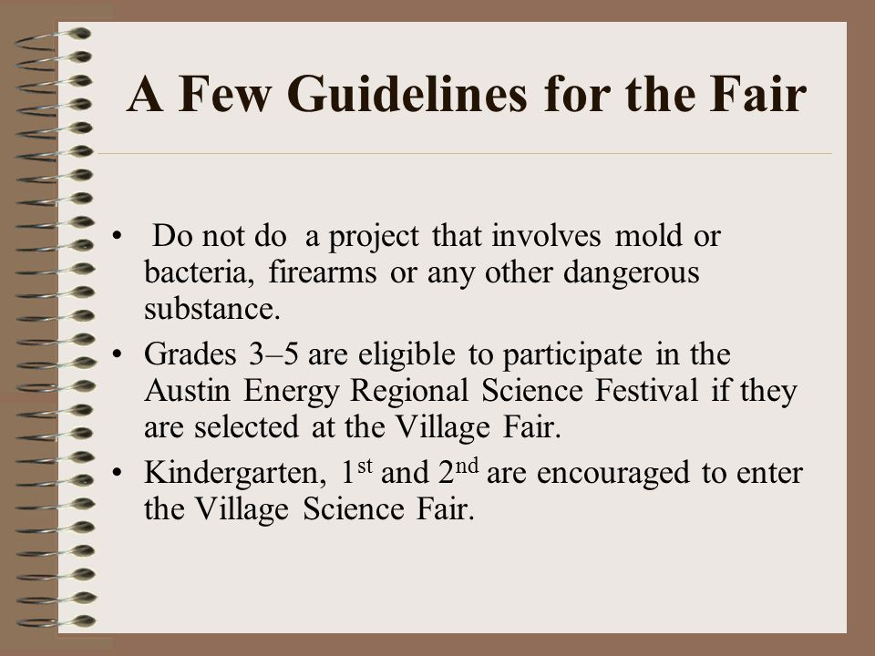 A Few Guidelines for the Fair