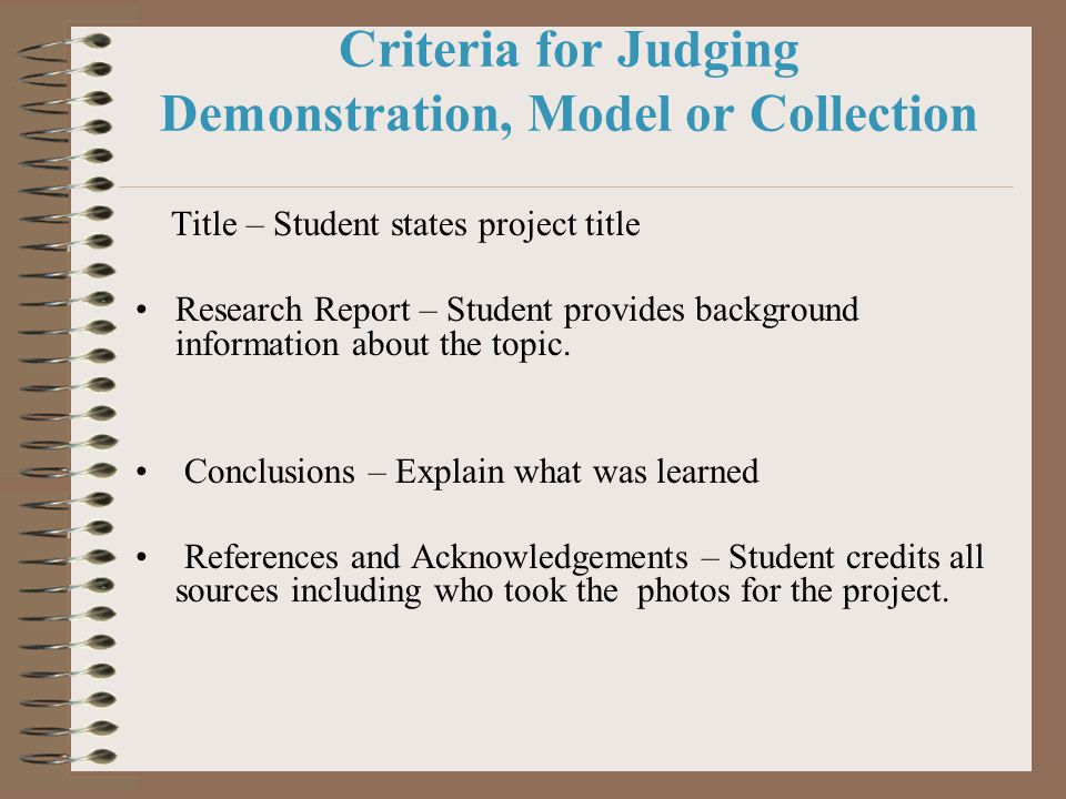 Criteria for Judging Demonstration, Model or Collection