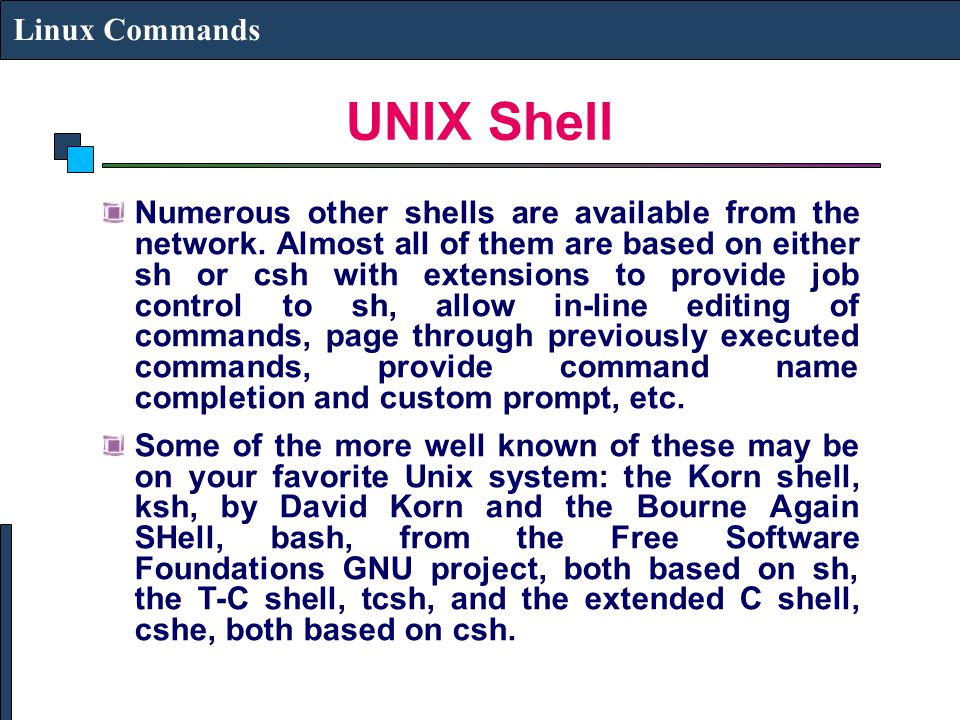 UNIX Shell Linux Commands
