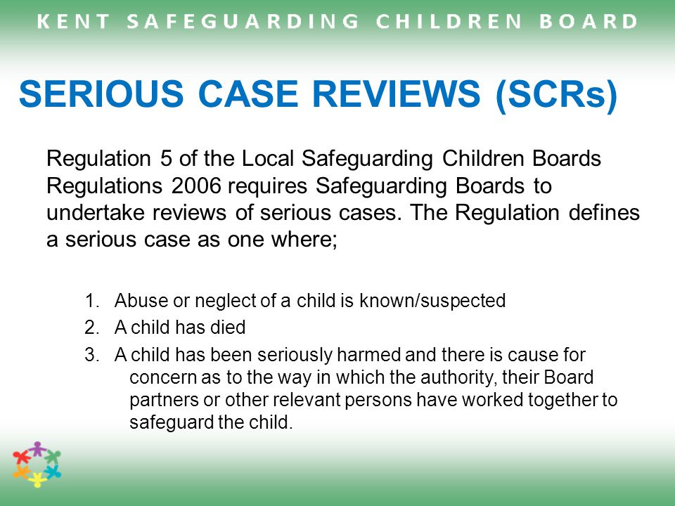 serious case reviews in childcare sector East of england region children's sector led improvement  local commissioning of serious case reviews  support for independent chairs of safeguarding children boards and serious case review/serious incident notification panels/sub groups august 2015  2  table of contents.