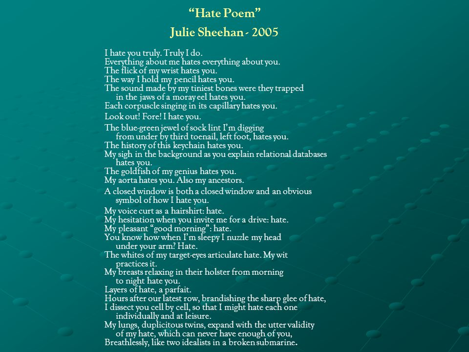 I Hate The Way Poem: Poetry And Music Comparison Project.
