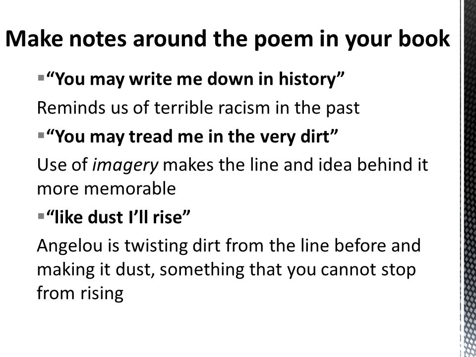 tone of poem still i rise Transcript of still i rise by maya angelou you may kill me with your hatefulness/but still, like all, i'll rise this poem conveys an assertive, confident tone.