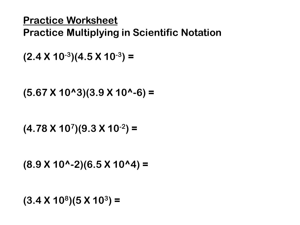 Dividing Numbers in Scientific Notation (with worked solutions ...
