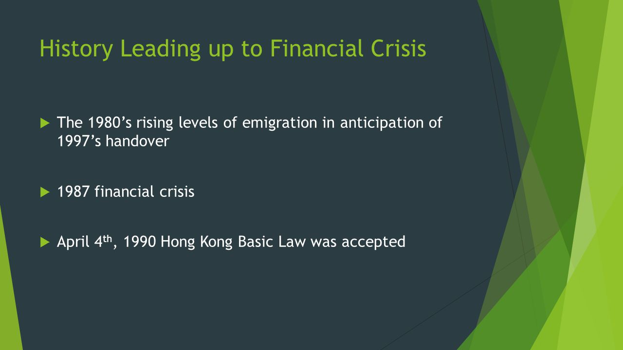 History Leading up to Financial Crisis