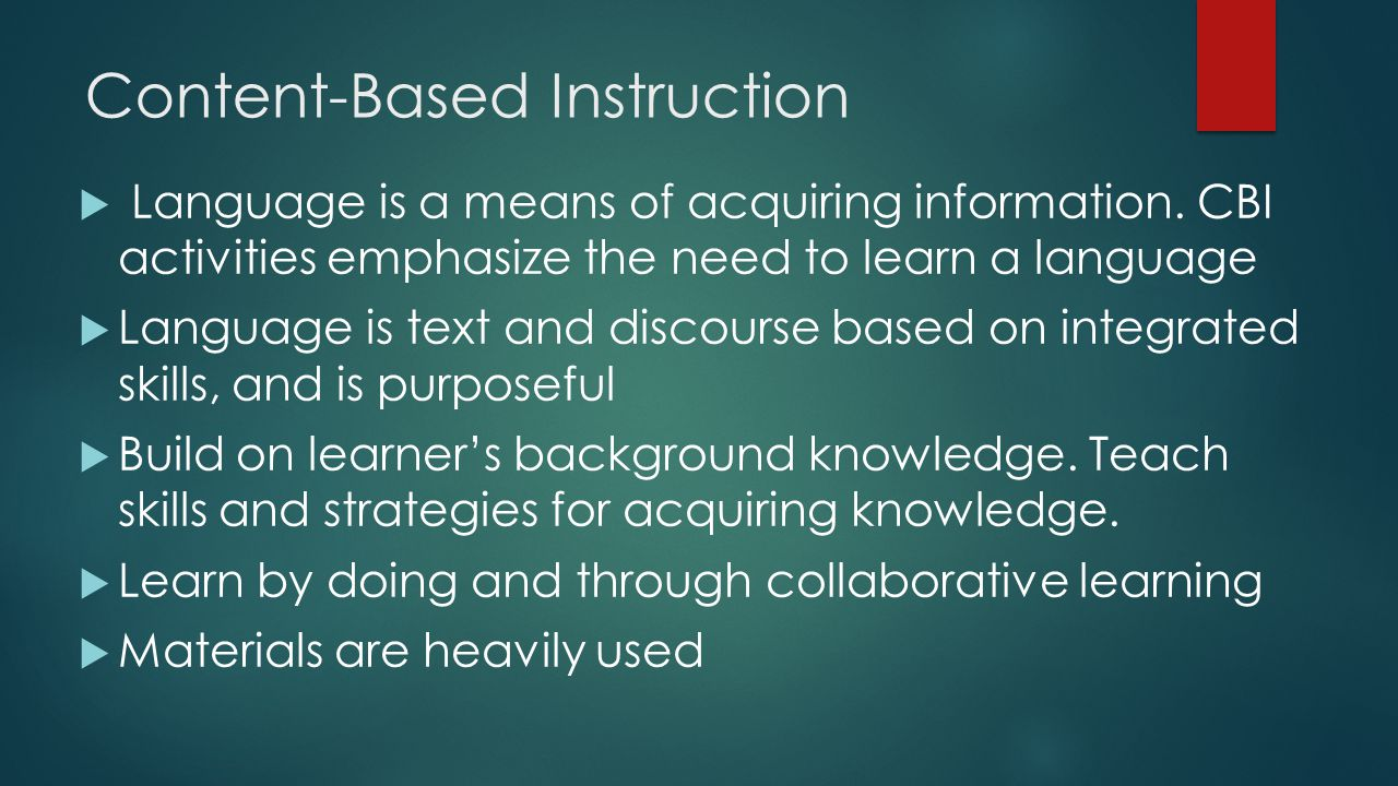 content based instruction activities